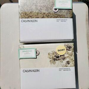 Calvin Klein Sandstorm Floral 7pc Queen Duvet Cover, Shams Sheets Tan Brown NEW