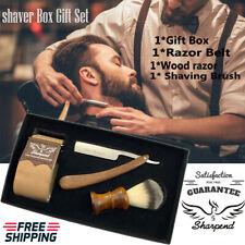 Vintage Cut Throat Straight Razor Kit Shaving Brush Salon Cardboard Box Gift Set