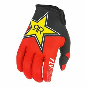 Motocross Gloves > Fly 2021 Lite Rockstar Enduro MotoX Off-Road Black/Red/Yellow