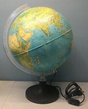 Vintage Rotating Globe World Map Lighted Desk Lamp Light w/ Plastic Base Stand