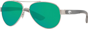 Costa del Mar Loreto OCEARCH Brushed Silver Gray Crystal Temples w/Green Mirror