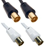 Coaxial TV Aerial Cable RF Fly Lead Digital Male to Male 1m 2m 3m 5m 10m 20m 30m