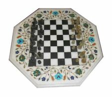 Marble Chess Game Table Top Floral Inlay Pietra Dura Work