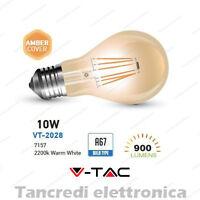 Lampadina led V-TAC 10W = 65W E27 VT-2028 ST64 filamento lampada vintage ambrata