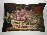Vintage Handmade Needlepoint Pillow BASKET of GRAPES Black Wool 16 x 12