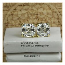 Plated Sterling Silver Stud Earrings 1.96Ct 7x7Mm Asscher Cut Solitaire Gold