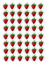 48 MINI STRAWBERRYS CUPCAKE TOPPER WAFER RICE EDIBLE FAIRY CAKE TOPPERS