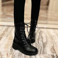 Retro Women Military Lace Up PU Leather Round Toe Ankle Flats Boots Martin Shoes