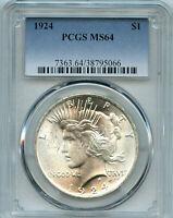 1924 P PCGS MS64 $1 Peace Silver Dollar BC5