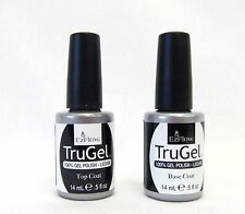 Ezflow Nail TruGel LED/UV Soak Off Gel Polish BASE COAT + TOP COAT ~ 2 bottles~