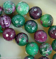 """Natural Genuine 8MM Ruby Emerald Faceted Round Loose Beads 15"""" Strand"""