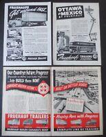 VINTAGE 1947, '52, '53 & 1955 FRUEHAUF TRAILERS PRINT ADS (6 IN TOTAL) CANADIAN