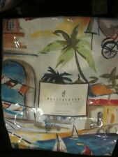 Pottery Barn Outlet Antibes Shower Curtain Palm Trees, Sailboats, Bicycles New