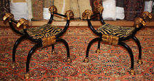 Rare Pair Tiger Chenille Upholstered Ebonized Gilded Rams Head Stools Benches