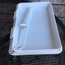 Pampered Chef Coating Trays and Tool #2605 - 3 Trays and 1 Pair of Tongs White