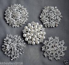 5 Large Rhinestone Brooch Pin Back Pearl Crystal Wedding Brooch Bouquet BR213