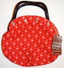 Vintage Burlington Handbags Purse Nautical Red Anchors Plastic Handle Removable
