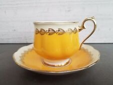 Royal Albert - Yellow banded Tea Cup and Saucer with Gold Laurel and Trim