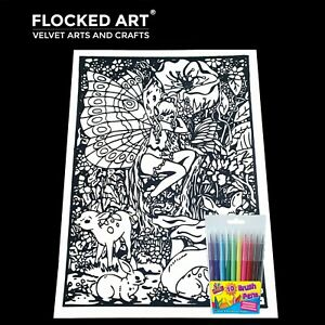 Velvet Colouring Art Fairy Very Large 50cm x 35cm 20 Inches x 14 inches