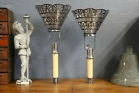 Antique Candlestick Church lamps Lights set of 2 Gothic umbrella sconce VTG