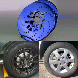 4x Blue Aluminum Racing Disc Decorative Brake Rotor Cover Drum For Toyota Car
