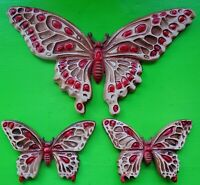 Vintage Mid Century 60s 70s Colorful Funky Butterfly Wall Hangings Decor Art