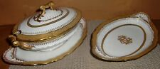 "HAVILAND LIMOGES ""THEODORE"" PETITE SOUPIER & SMALL PLATTER, ORNATE GOLD MONOGRAM"