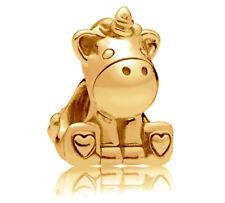 Genuine PANDORA Bruno the Unicorn Charm 14K Gold Vermeil 797609 14K Gold Plated