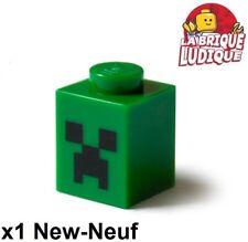 Lego - 1x Brick decorated brique tête Minecraft Creeper Face vert 3005pb018 NEUF