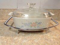 Corning Ware Symphony A-2-B Casserole Dish w/ Pyrex lid & Serving tray 2 Liter