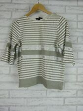 FRENCH CONNECTION Top/Blouse Sz S, 10  Gray, Cream, Silver Stripe