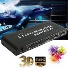 1080P 4 Way HD HUB 1x4 Port HDMI 3D Splitter Amplifier Switcher Box For HDTV PC