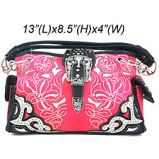 Western Cowgirl Rhinestone Buckle Pink/Black Purse Double Leather Chain Strap