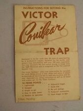 Victor Conibear Instruction Guide- 4 pages- Pat. Pending