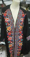 Savanna Jane Women's Black w/Multi-Colored Floral Embroidery 3/4 Sleeve Kimono