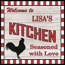 LISA'S Kitchen Welcome to Rooster Chic Wall Art Decor 12x12 Metal Sign SS79