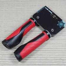 schwarz // rot Ergonomische Lenkergriffe 133mm Fahrradgriffe mit Bar Ends
