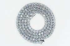 """Diamond 1 Row Tennis Chain Necklace 20"""" Men White Gold Finish 4Mm Icy"""