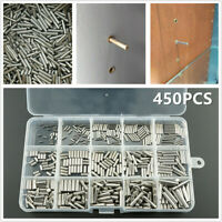 450pcs M2 M3 M4 Stainless Steel Cylindrical Pin Set Home Furniture Component Box
