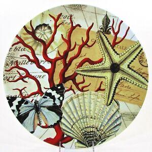 "Pottery Barn COASTAL CURIOSITY 16"" Serving Platter Shells Coral Butterfly Map"