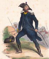 Gravure XIXe Officier Infanterie Légère Révolution Française Uniforme 1840