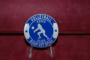 Volleyball Flipper Heads Tails Referee down Ref Flip Coin Token Medal