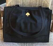 Kate Spade BLACK Nylon TOTE Satchel Shoulder Bag  Purse w/ Polka Dots Inside