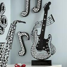 """Large Jeweled Metal Guitar Figurine W/ Staff Curves 27-1/4"""" New collectible $200"""