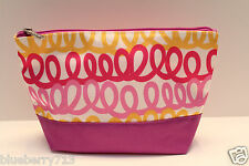 NEW! CLINIQUE Lined Zipper Pink Yellow Curly Print Cosmetic Makeup Bag