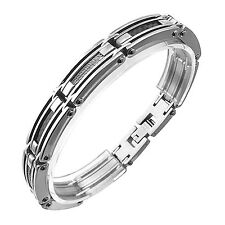 Men's Stainless Steel Link Bracelet with Cable & Carbon Fiber Inlays Design