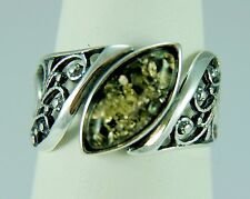 Genuine Baltic Green Amber Floral Marquise Sterling Silver Ring Size 9