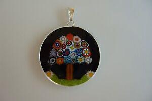 Millefiori Pendant Original Murano Glass Silver 925 Jewelry Murano Handmade Ø26
