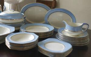 Vintage 1930s Duck Egg Blue Palissy Large Dinner Service serves 6