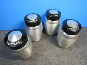 Vintage spun aluminum spice jars Kromex with lids set of 4